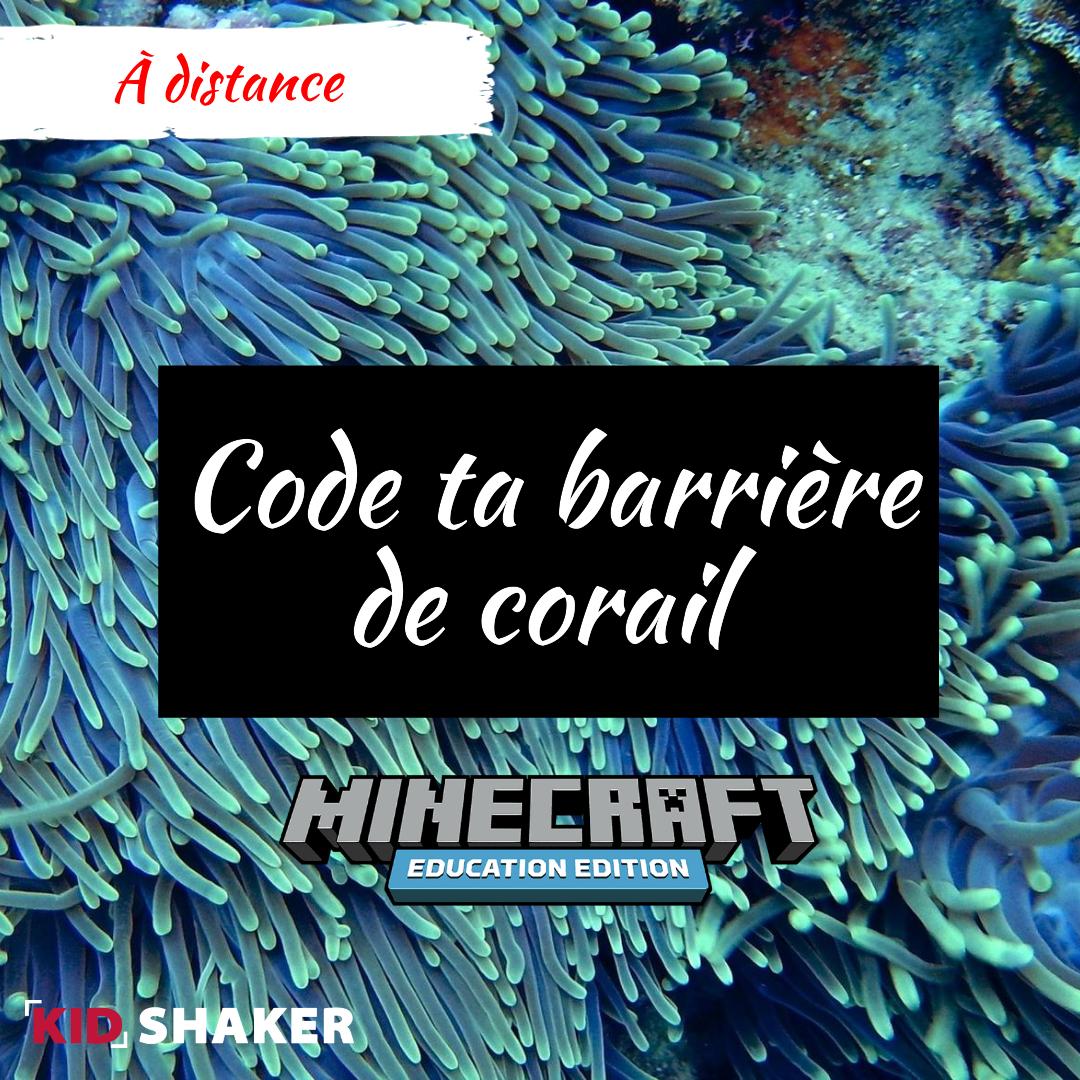 Atelier Vacances KIDSHAKER Minecraft Education Code ta Berrière de Corail Ecologie Activités enfants
